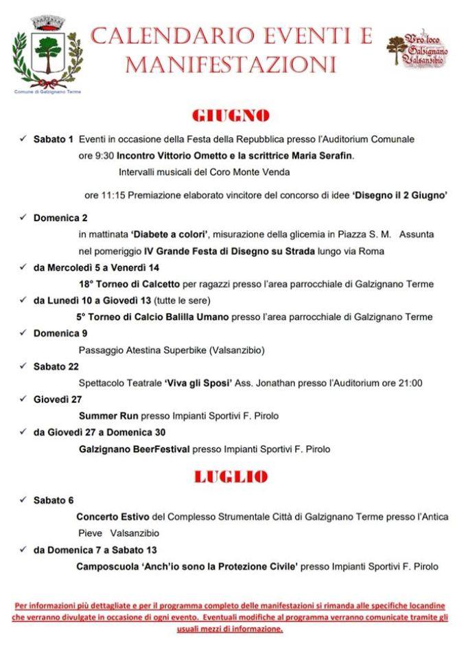 Calendario Di Giugno.Galzignano Terme Calendario Manifestazioni Ed Eventi Mesi