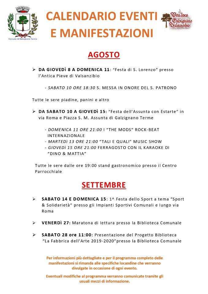 Pagina Di Calendario Settembre 2019.Galzignano Terme Calendario Eventi Agosto Settembre